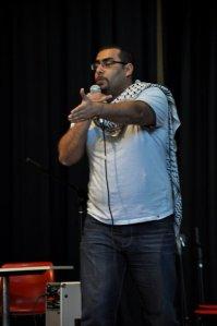Spoken word artist Farid Farid performing at the 2011 Festival of Friendship