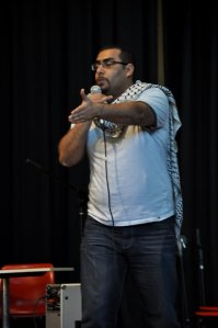 Spoken word artist Farid Farid performing at the 2011 Festival of Friendship